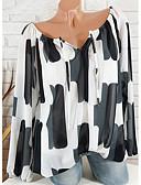 billige Skjorter til damer-Løstsittende Løse skuldre Store størrelser Bluse Dame - Geometrisk, Chiffon Grunnleggende Rosa / Vår / Sommer / Høst / Vinter