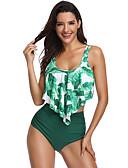 preiswerte Badebekleidung in Übergröße-Damen Grundlegend Boho Grün Halter Cheeky-Bikinihose Bikinis Bademode - Blumen Ringer-Rücken-Kleid Rüsche M L XL Grün
