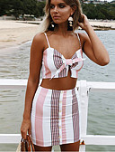 cheap Women's Two Piece Sets-Women's Beach Street chic Set - Plaid / Check Skirt Strap / Holiday / Super Sexy