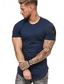 お買い得  メンズTシャツ&タンクトップ-男性用 パッチワーク Tシャツ ラウンドネック カラーブロック コットン ブラック XL