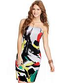 hesapli Kadın Elbiseleri-Kadın's İnce Kılıf Elbise - Geometrik, Desen Düşük Omuz Diz üstü