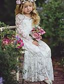 Χαμηλού Κόστους Βρεφικά φορέματα-Μωρό Κοριτσίστικα Βασικό Μονόχρωμο Μακρυμάνικο Βαμβάκι Φόρεμα Λευκό