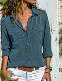 baratos Macacões & Macaquinhos-Mulheres Camisa Social Básico Sólido