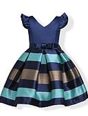 זול שמלות לילדות פרחים-שמלה שרוולים קצרים אחיד / פסים כחול Party / חגים פפיון / מתוק בנות ילדים / פעוטות / כותנה