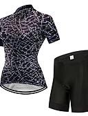 tanie Stroje rowerowe-FirtySnow Damskie Krótki rękaw Koszulka z szortami na rower - Czarny Rower Zestawy odzieży Oddychający Szybkie wysychanie Sport Poliester Kreatywne Kolarstwo górskie Kolarstwie szosowym Odzież