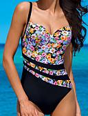 hesapli Bikiniler ve Mayolar-Kadın's Sportif Temel Askılı Gökküşağı Underwire Yarım Tanga Tek Parçalılar Mayolar - Çiçekli Zıt Renkli Arkasız S M L Gökküşağı