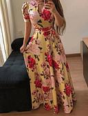 billige Kjoler med tryk-Dame Tynd Swing Kjole - Blomstret, Trykt mønster Maxi Rullekrave