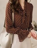 povoljno Bluza-Veći konfekcijski brojevi Majica Žene - Osnovni Dnevno Na točkice / Geometrijski oblici V izrez Braon