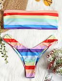 cheap Bikinis-Women's Rainbow Cheeky Tankini Swimwear - Color Block S M L Rainbow