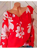 voordelige Damesshirts-Dames Bloemen / Print / Schouderafhangend Grote maten - Overhemd Feestdagen Bloemen V-hals Rood XXXL / Lente / Zomer
