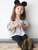 お買い得  赤ちゃん ドレス-赤ちゃん 女の子 ストリートファッション ストライプ 半袖 レギュラー ポリエステル アンサンブル ブラック