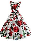 cheap Vintage Dresses-2019 New Arrival Dresses Women's Elegant A Line Dress Elbise Vestidos Robe Femme - Floral Print White L XL XXL