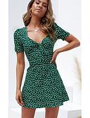 hesapli Mini Elbiseler-Kadın's Temel A Şekilli Elbise - Yuvarlak Noktalı Diz üstü