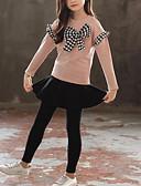 זול סטים של ביגוד לבנות-סט של בגדים שרוול ארוך פפיון / טלאים טלאים ליציאה פעיל / סגנון רחוב בנות ילדים