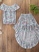 Χαμηλού Κόστους Σετ ρούχων για κορίτσια-Παιδιά / Νήπιο Κοριτσίστικα Ενεργό / Βασικό Φλοράλ Με Βολάν / Στάμπα Αμάνικο Βαμβάκι / Spandex Σετ Ρούχων Πράσινο του τριφυλλιού