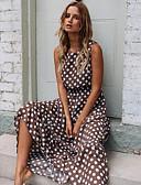 cheap Print Dresses-Women's Boho Swing Dress - Polka Dot Brown M L XL