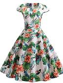 halpa Vintage-kuningatar-Naisten Ohut Swing Mekko V kaula-aukko Midi
