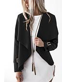 hesapli Ceketler-Kadın's Günlük Bahar Normal Ceketler, Solid Bebe Yaka Uzun Kollu Polyester Gri / Şarap / Haki M / L / XL