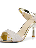 cheap Wedding Dresses-Women's Faux Leather Spring & Summer Sandals Stiletto Heel Open Toe White / Beige / Pink