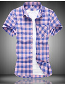 baratos Pólos Masculinas-Homens Tamanho Europeu / Americano Camisa Social Quadriculada Algodão Roxo