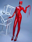 cheap Zentai Suits-Zentai Suits Skin Suit Bunny Girl Adults' Cosplay Costumes Leotards Black / Red Solid Colored Patent Leather Elastane Polyster Women's Halloween Carnival Masquerade