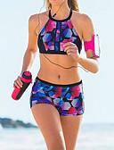hesapli Bikiniler ve Mayolar-Kadın's Temel Gökküşağı Bandeau Çocuk Bacak Tankini Mayolar - Geometrik Desen M L XL Gökküşağı