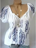 levne Halenka-Dámské - Geometrický Větší velikosti Tričko, Tisk Volné Bílá XXXL