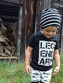 Χαμηλού Κόστους Μπουφάν και παλτό για αγόρια-Μωρό Αγορίστικα Ενεργό / Βασικό Στάμπα Στάμπα Κοντομάνικο Κανονικό Βαμβάκι / Spandex Σετ Ρούχων Μαύρο