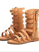זול סטים של ביגוד לבנות-בנות נעליים PU קיץ נוחות סנדלים ל שחור / חום