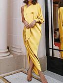 رخيصةأون الأزياء التنكرية التاريخية والقديمة-فستان نسائي متموج كشكش موضة غير متماثل نحيل لون سادة