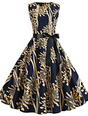 cheap Prom Dresses-Casual Dress A-Line Jewel Neck Tea Length Jersey Dress with Pattern / Print / Sash / Ribbon by LAN TING Express