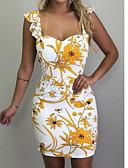 זול שורטים-צווארון V מיני דפוס, פרחוני גיאומטרי - שמלה גזרת A רזה כותנה בסיסי בגדי ריקוד נשים