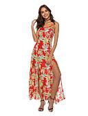 levne Maxi šaty-Dámské Cikánský Shift Šaty - Květinový, Rozparek Maxi