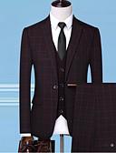 お買い得  メンズブレザー&スーツ-男性用 スーツ, ソリッド ピークドラペル ポリエステル ブルー / ブラック / ルビーレッド XXL / XXXL / XXXXL