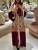 זול מלכת הוינטאג'-מקסי שרוכים לכל האורך דפוס, גיאומטרי - שמלה עבאיה כפתן בוהו אלגנטית בגדי ריקוד נשים