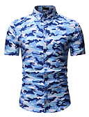 cheap Men's Tees & Tank Tops-Men's Daily Active / Basic Cotton Shirt - Camo / Camouflage Classic Collar Blue XL / Short Sleeve / Summer