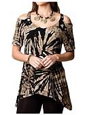 preiswerte Bluse-Damen Druck T-shirt Ausgeschnitten Rosa XXXL