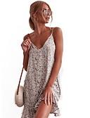 hesapli Kadın Elbiseleri-Kadın's A Şekilli Elbise Fırfırlı Desen Diz üstü
