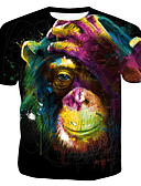 hesapli Erkek Tişörtleri ve Atletleri-Erkek Pamuklu Yuvarlak Yaka Tişört Desen, Gökküşağı / Hayvan Gökküşağı