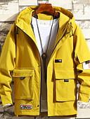 お買い得  女児ジャケット&コート-男性用 日常 春 EU / USサイズ レギュラー ジャケット, ソリッド フード付き 長袖 ポリエステル ブラック / ベージュ / イエロー