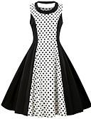 cheap Vintage Dresses-Women's Vintage Basic A Line Sheath Little Black Dress - Polka Dot Floral Color Block Layered Patchwork Print Black XXL XXXL XXXXL