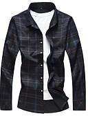 billige Herreskjorter-Klassisk krave Tynd Herre - Ensfarvet Plusstørrelser Skjorte Sort XXXXL