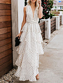 cheap Women's Belt-Women's Vacation Sexy Maxi Sundress - Polka Dot Backless Ruffle Deep V White M L XL