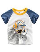 お買い得  男児 トップス-子供 男の子 ベーシック プリント プリント 半袖 コットン Tシャツ ホワイト