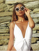 cheap One-piece swimsuits-Women's Basic White Briefs One-piece Swimwear - Solid Colored Backless S M L White