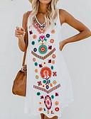זול שמלות מיני-צווארון V עד הברך שמלה גזרת A טוניקה רזה מידות גדולות פרחוני רקמה סגנונות חוף בגדי ריקוד נשים