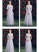 abordables Robes de Demoiselles d'Honneur-Trapèze Illusion Neck Longueur Sol Tulle Robe de Demoiselle d'Honneur  avec Dentelle par LAN TING Express