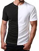 abordables Camisetas y Tops de Hombre-Hombre Retazos Camiseta, Escote Redondo Delgado Bloques Rojo L