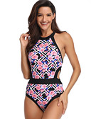 cheap One-piece swimsuits-Women's Basic Boho Blue Black Cheeky One-piece Swimwear - Floral Geometric Backless M L XL Blue