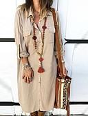 זול שמלות מקרית-מקסי אחיד - שמלה חולצה בסיסי בגדי ריקוד נשים / צווארון חולצה